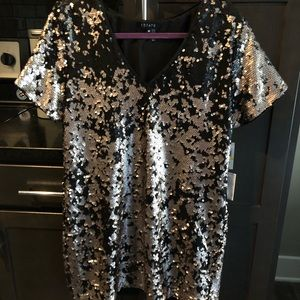 Silver and Black Sequins T-Shirt Dress